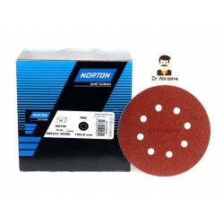 "125mm 5"" Norton sanding discs, hook and loop, 8 hole, P40-240"