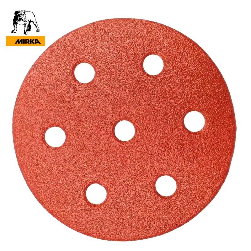 "90mm 3.5"" Mirka hook and loop sanding discs, 7 hole (for Festool Rotex), P40-240"