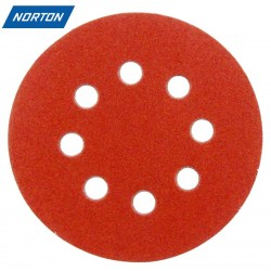 "125mm 5"" Norton sanding discs, hook and loop, 8 hole, P40-240"