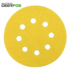 "125mm 5"" Deerfos sanding discs, hook and loop, 8 hole, P40-400"