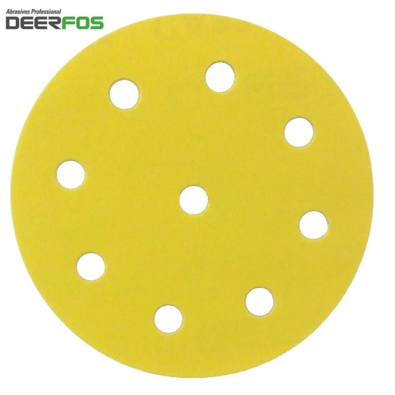 """125mm 5"""" Deerfos sanding discs for Festool, hook and loop, 9 hole, P 40-400"""