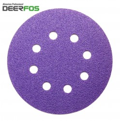 "125mm 5"" ceramic wet or dry Deerfos sanding discs, hook and loop, 8 hole, P40-220"