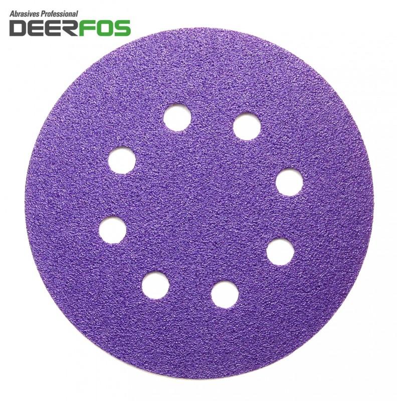 """125mm 5"""" ceramic wet or dry Deerfos sanding discs, hook and loop, 8 hole, P40-220"""