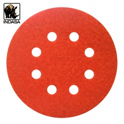 "125mm 5"" Indasa Rhynogrip sanding discs, hook and loop, 8 hole, P40-2000"
