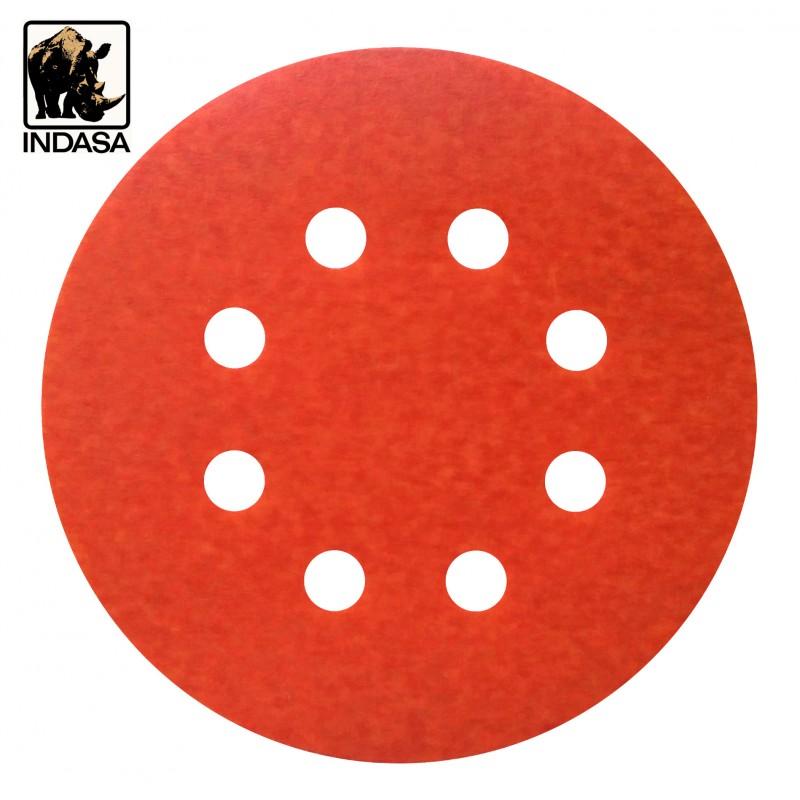 """125mm 5"""" Indasa Rhynogrip sanding discs, hook and loop, 8 hole, P40-2000"""
