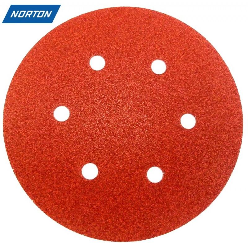 "150mm 6"" Norton sanding discs, hook and loop, 6 hole, P40-240"