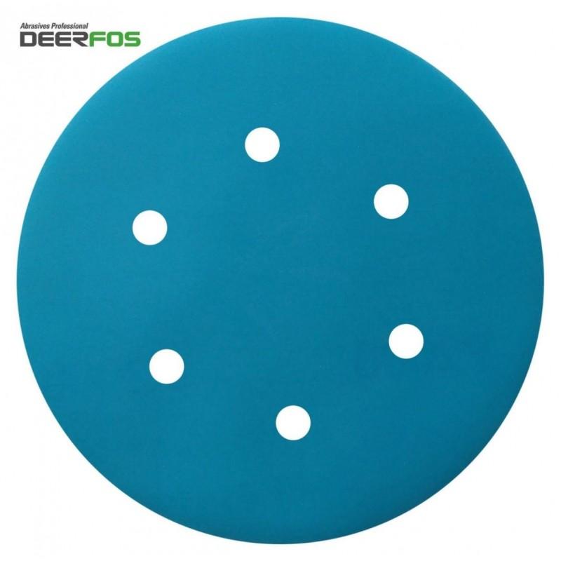 """150mm 6"""" Wet or dry Deerfos sanding discs, hook and loop, 6 hole, P40-3000"""