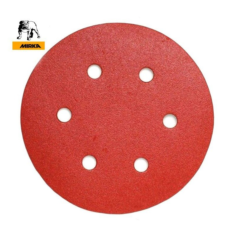 "150mm 6"" Mirka hook and loop sanding discs, 6 hole, P40-600"