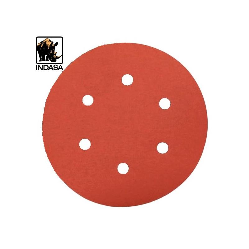 """150mm 6"""" Indasa Rhynogrip sanding discs, hook and loop, 6 hole, P40-2000"""