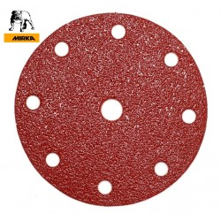 "150mm 6"" Mirka hook and loop sanding discs, 9 hole (for Festool), P40-240"