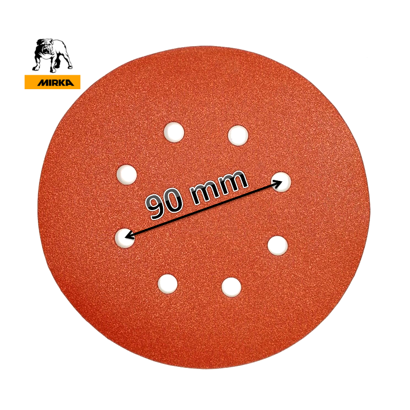 "180mm 7"" Mirka sanding discs, hook and loop, 8 hole (fits Workzone 710W and 850W), P40-240"