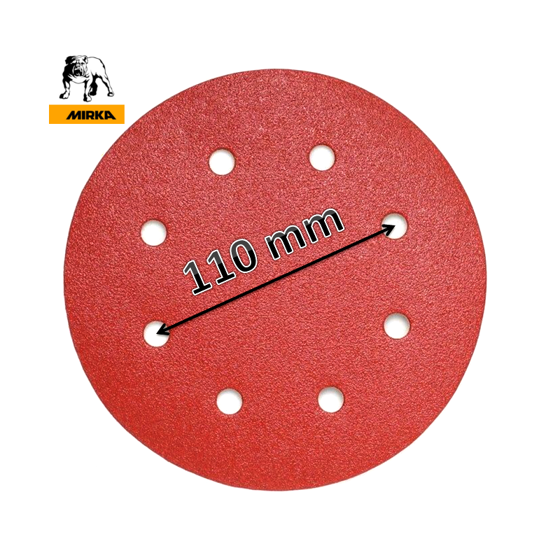 "180mm 7"" Mirka sanding discs, hook and loop, 8 hole (fits Workzone 750W), P40-320"