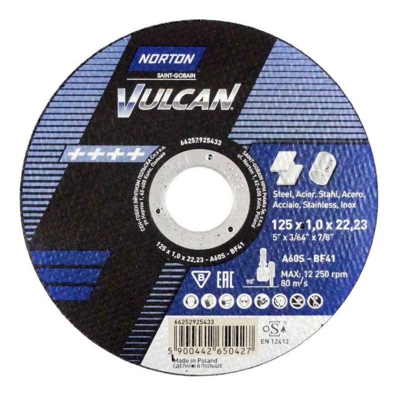 "125mm 5""Norton Vulcan Cutting Discs Stainless Steel Metal 125x1.0x22,23"