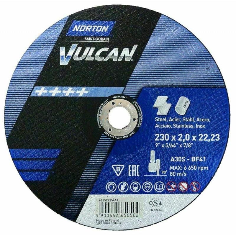 "230mm 9"" Norton Vulcan Cutting Discs Stainless Steel Metal 230x2.0x22,23"