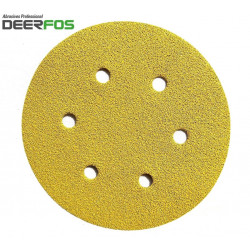 "150mm 6"" Deerfos sanding discs, hook and loop, 6 hole, P40-320"