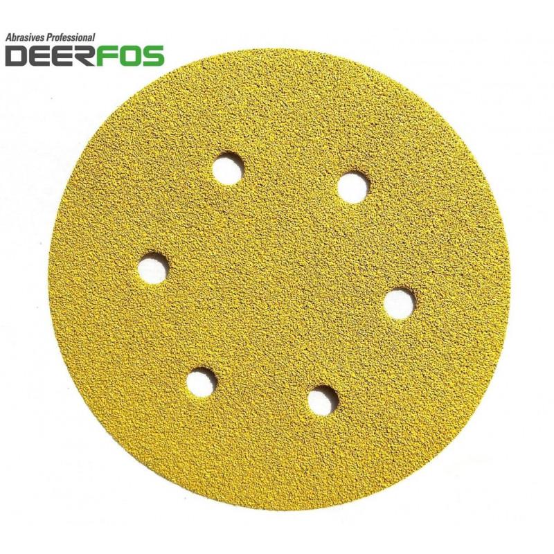 """150mm 6"""" Deerfos sanding discs, hook and loop, 6 hole, P40-320"""