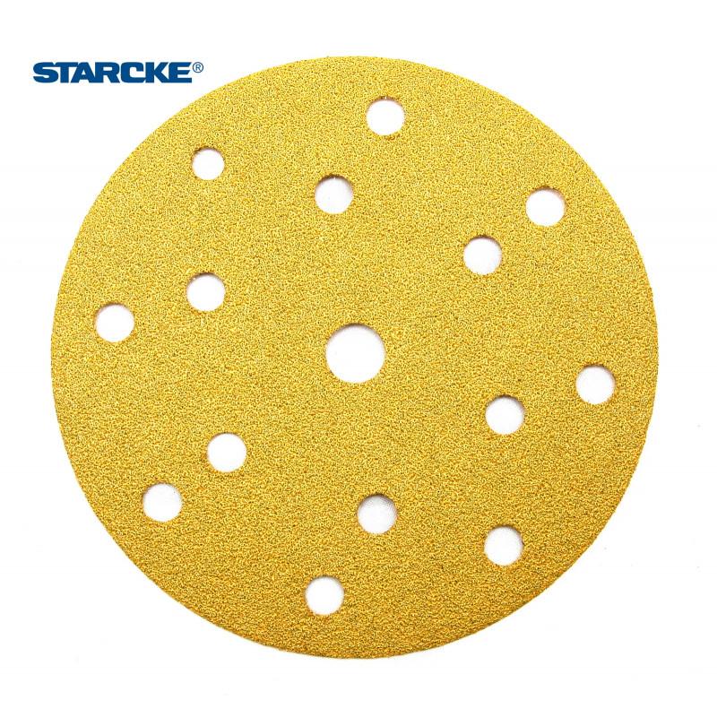 """150mm 6"""" Starcke sanding discs, hook and loop, 15 hole, P40-800"""