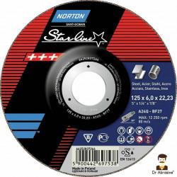 """125mm 5"""" Norton Starline grinding discs 6mm"""